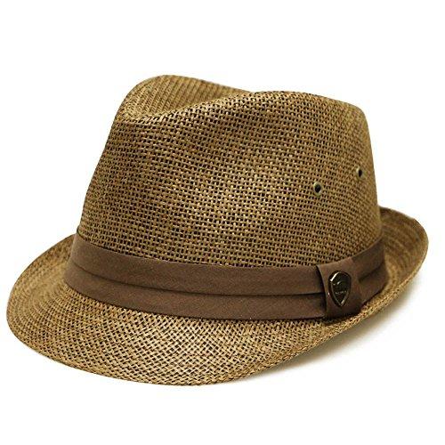 Pamoa Unisex Pms540 Summer Porkpie Straw Fedora Hats 3 Colors (L/XL, 500 Brown)