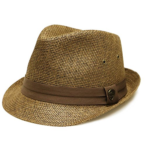 Pamoa Unisex Pms540 Summer Porkpie Straw Fedora Hats 3 Colors (L/XL, 500 Brown)
