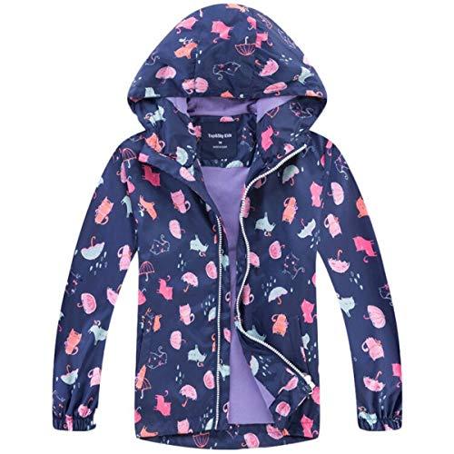 Kinder Mädchen wasserdichte Cartoon Einhorn Print Jacke Übergangsjacke Regenjacke Kinder Softshelljacken Wanderjacke Outdoorjacke