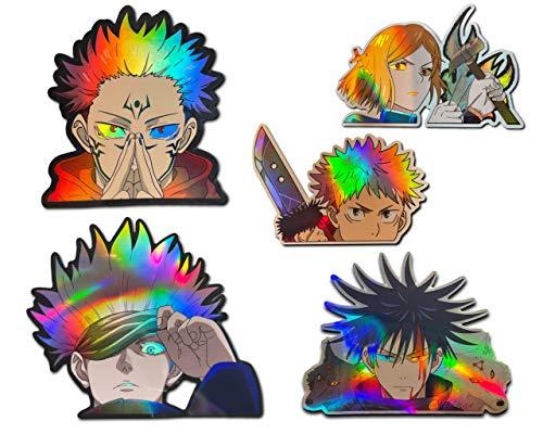 Holographische Jujutsu Kaisen Sticker || Sukuna, Yuji Itadori, Saroru Gojo, Megumi Fushiguro, Nobara Kugisaki