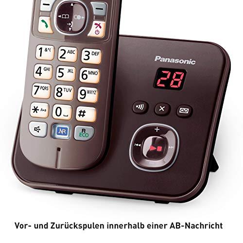 Panasonic KX-TG6821GA DECT Schnurlostelefon mit Anrufbeantworter (strahlungsarm, Eco-Modus, GAP Telefon, Festnetz, Anrufsperre) mocca-braun