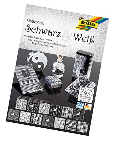 folia 46749 - Motivblock Schwarz - Weiß, 24 x 34 cm, 26 Blatt sortiert - Grundlage für vielfältige Bastelarbeiten und -ideen