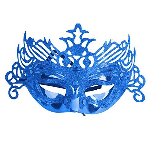 QIANDING MIANJU Handbemalte Maske, Karneval, Maskenball, Bühne, Performance, Rollenspiel, Thema, Party, Halloween, Dekoration, Handarbeit, L25 x H15 cm, blau, 25x15cm