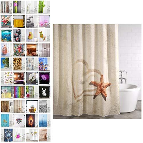 Duschvorhang, viele schöne Duschvorhänge zur Auswahl, hochwertige Qualität, inkl. 12 Ringe, wasserdicht, Anti-Schimmel-Effekt (Sandy, 180 x 200 cm)