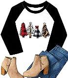 Plus Size Christmas Shirts Womens Merry Christmas Plaid Leopard Tree Baseball Casual 3/4 Sleeve Letter Print Graphic Tees (White, XXXXL)