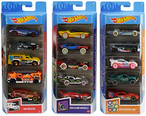 Hot Wheels Variety Fun 5 Pack Bundle of 15 1:64 Scale Vehicles with 3 Themes HW Rescue, HW Glow Wheels & HW Design Lab for Collectors & Kids 3 Years Old & Up