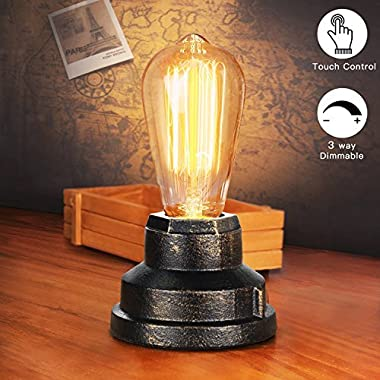 Touch Control Table Lamp Vintage Desk Lamp Small Industrial Touch Light Bedside Dimmable Nightstand Lamp Steampunk Accent Light Edison Lamp Base Antique Night Light for Living Room Bedroom by Boncoo