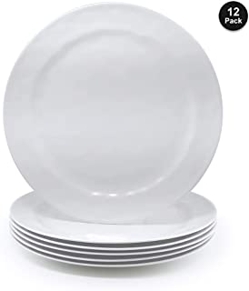 Melamine Salad Plates - 12pcs 8inch 100% Melamine Plates/Picnic Plates/Kids Plates for Everyday Use, White|Break-resistant and Lightweight,BPA Free