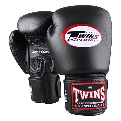 Twins Special Boxhandschuhe BGVL 3 AIR - Black - Boxhandschuhe MMA Kickboxen Sparring Muay Thai Leder (12 Unzen)