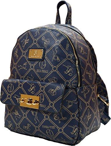 Giulia Pieralli Damen Mädchen Designer Kleiner Modischer Rucksack Citytasche Bag Wander Schultertasche Student Daypack (Blau)