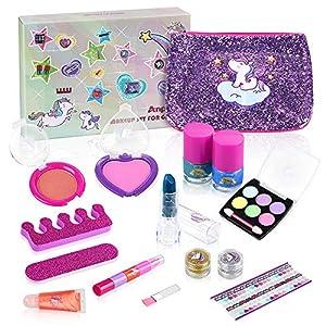 Anpro 15pcs Kit de Maquillaje Niñas,Juguetes para Chicas, Cosméticos Lavables, Regalo de Princesa para Niñas en Fiesta…