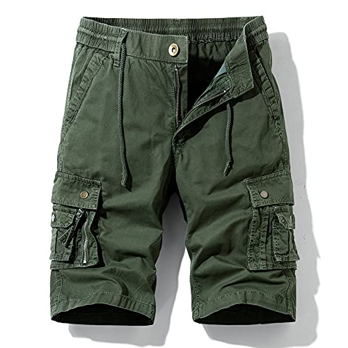 Hot island Men's Relaxed Fit Multi Pockets Big and Tall Size Outdoor Cargo Shorts. Army Green
