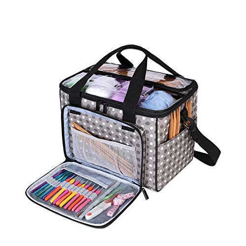 Teamoy Bolsa de Ovillos Bolso de Crochet Mochila Bolsa de Almacenamiento de Tejido en Orden(NO Incluido Accesorios),Pequeño, Puntos Grises