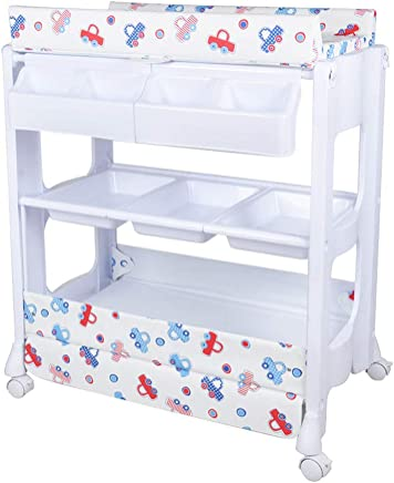 Baby Changing Table Station Infants Massage Bed  Portable Changer Baby Storage Bath Tub Unit Dresser with Wheels