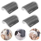 4 Pack Cat Corner Self Groomer with Catnip, Cat Face Scratchers Wall Mount Grooming Brush Massage Comb for Kittens (Grey)