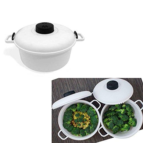 Pentola a pressione per forno a microonde, 2,85 litri, per cucinare in modo sano al vapore senza olio