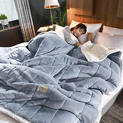 ROZIA Decke Dicke Koralle Fleece Decke dünne Steppdecke Decke Flanell Winter Klimaanlage Decke Nickerchen Decke Einzel Doppelbett Einzel-4_150 cm x 200 cm