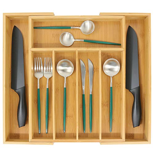 Bamboo Utensil Drawer Organizer Expandable Silverware Tray for Drawer and Cutlery Holder Multi-Function Drawer Storage 5-7 Compartments