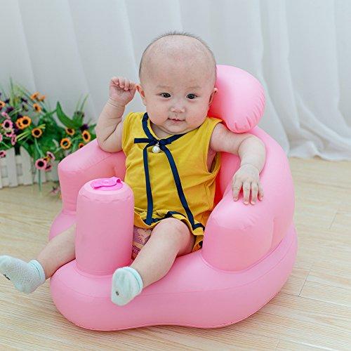 Asiento seguro para bebé Step A Aprende a Inflables Juguetes para recién nacidos y Barco de Baño de seguridad para niños pequeños, silla de cena, taburete portátil para bebés (estilo seguro, rosa)