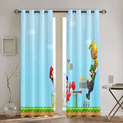 Super Mario Odyssey Cortinas aisladas con ojales para decoración de habitaciones de niños, 132 x 160 cm