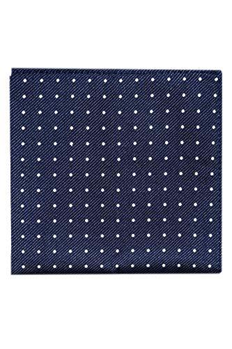 Fazzoletto da taschino in pura seta pochette altissima qualità fantasia a pois bianchi 100% Made in Italy-diversi colori-produzione propria-prezzi di fabbrica (Pois Blu Scuro / Bianco)