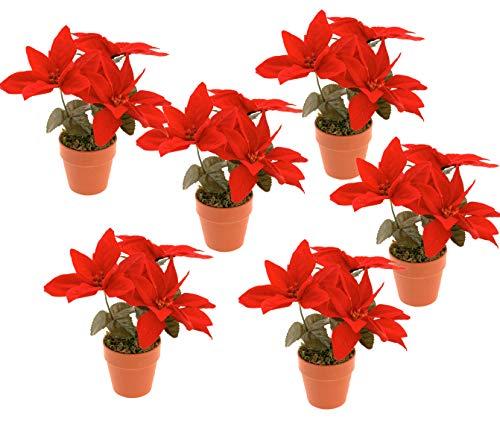 Spetebo Weihnachtsstern künstlich im terracottafarbenen Topf - 6er Set - Tisch Deko Pflanze künstlich Kunstblume Adventsstern Christstern Poinsettie