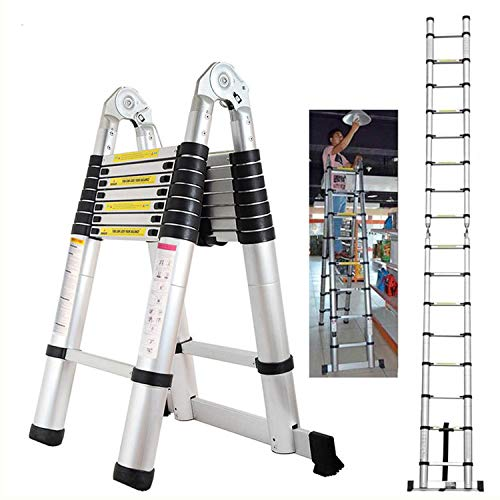 5M Teleskopleiter Klappleiter, rutschfeste Klappleiter Trittleiter Mehrzweckleiter aus hochwertigem Aluminium bis 150 kg Tragfähigkeit (2,5 + 2,5 M)