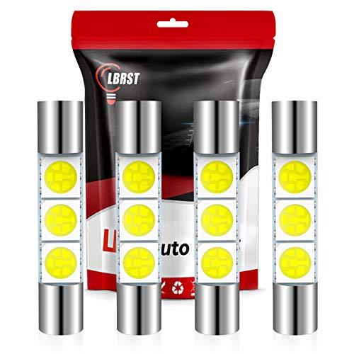 LBRST 28mm 29mm Festoon LED Bulb 6612 6614F 6641 Vanity Mirror Sun Visor Light White LED Interior light for Dome Map Lights Trunk Door Lights,4Pack