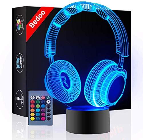 Bedoo 3D-Illusions-Nachtlicht, Kopfhörer-Form, 16 Farbwechsel, dimmbar, Musik-Themenlampe, Tisch-, Schlafzimmer-Dekoration, Geschenk