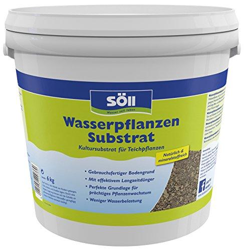 Söll 20036 WasserpflanzenSubstrat Kultursubstrat für Teichpflanzen 6 kg - gebrauchsfertiger natürlicher Bodengrund mit Mineralstoffen zur Anpflanzung von prächtigen Wasserpflanzen im Gartenteich