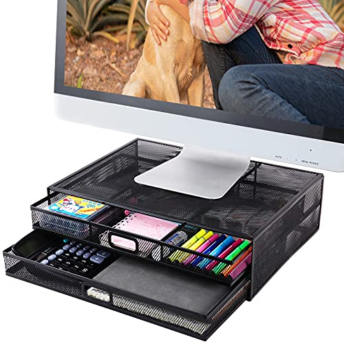 Monitor Stand Riser with Drawer- Metal Mesh Desk Organizer with Dual Pull Out Storage Drawer for Computer, PC, iMac, Laptop and Printer Accessories and Office Supplies (Black)