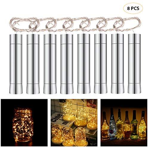 Cadena Led Luces para Botellas de Vino, 8 x 20 LEDs Guirnaldas Luminosas 2M Lámparas de Botellas Blanco Cálido, Tira de luz Tapa de Botella para Decoraciones de DIY Festivales Luces