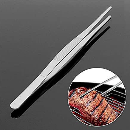 30cm Stainless Steel Long Food Tongs Straight Tweezers Kitchen Pliers Hand Tool Clipping Food Meat