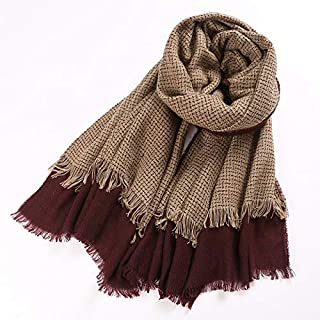 Winter Long Scarf Color Matching Scarf Female Winter Wild Student Japanese Small Fresh Big Shawl Thickening bib Dual Purpose (Color : Blue-Gray) Winter Soft Scarf (Color : Khaki)