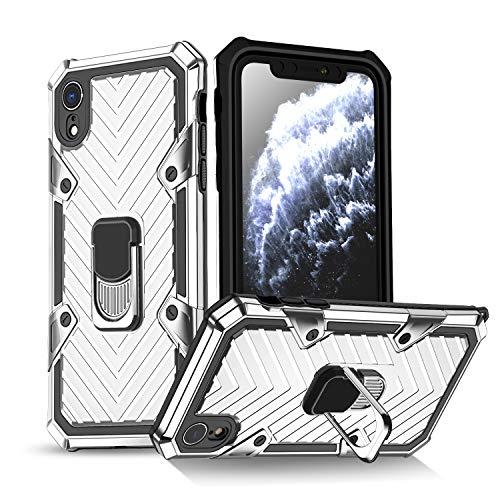 Funda iPhone XR Carcasa Protectora Antigolpe con Soporte Anillo Armadura de Parachoques TPU Duradero Flexible 360 Grados Anillo de Rotación Anti-Choques,Plata