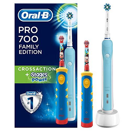 Oral-B Brosses à Dents Électriques Rechargeables Pack Famille avec 2Manches, 1Manche Pro700 CrossAction, 1Manche Stages Power pour Enfants