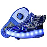 Zapatillas con Ruedas, con USB Carga,Niños Niña LED Luces Zapatos,7 Colores Luminosas Flash Zapatos de Roller Rueda Patines Deportivo al Aire Libre Gimnasia Zapatos de Skateboard
