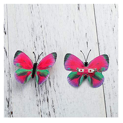 JIWEIER Tela Pin broches etéreo Color de la Mariposa de Plata Azul Fucsia Bolsas for la Ropa de Vestir Accesorios de la decoración broches para Las Mujeres (Color : Pink)