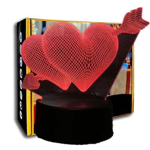 KangYD 3D Night Light Love Arrow Through The Heart, LED Desk Lamp, Decor lights, Bedroom Lamp, Home Decor, E - Base de Réveil (7 couleurs)