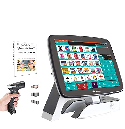 MEETSUN All in One Cash Register POS System 15' Touch Screen Windows PC with Built-in 2 1/4' Thermal Receipt Printer for Retail Businesses SET02