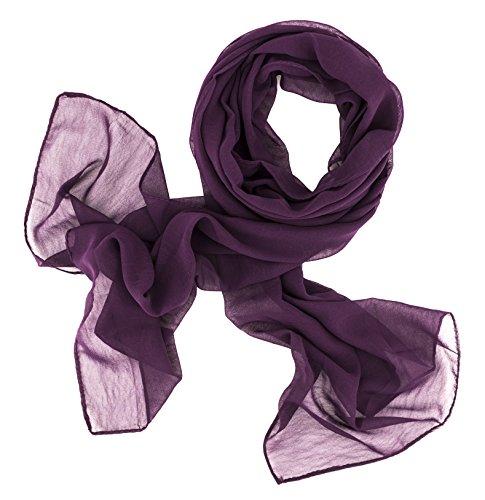 Dolce Abbraccio Damen Schal Stola Halstuch Tuch aus Chiffon für Frühling Sommer Ganzjährig (Pflaume)