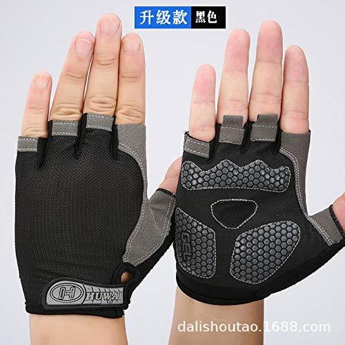 JFHGNJ Dunne sectie mannen en vrouwen halve vinger handschoenen mesh ademende sport fietsen bergbeklimmen outdoor fitness handschoenen Upgrade gevoerde black_S
