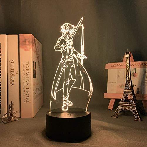Lámpara de ilusión de anime 3D Sword Art Online Kirito para decoración de dormitorio Regalo Lámpara de noche colorida Manga 3D Kazuto Kirigaya-Touch Control 7 colores