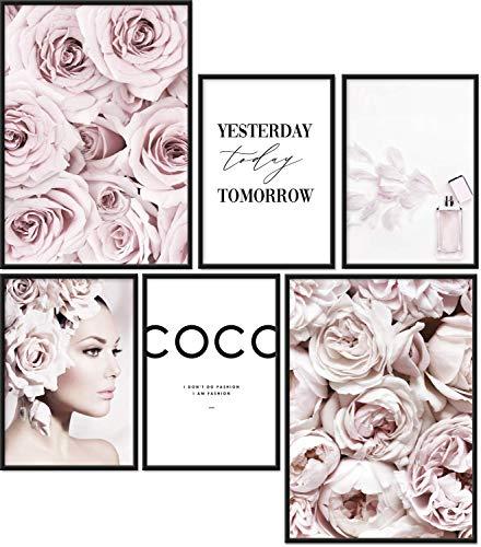Papierschmiede® Premium Poster Set Coco Flowers | 6 Bilder als stilvolle Wanddeko | 2X DIN A3 und 4X DIN A4 | Glamour Lifestyle Blumen Parfum