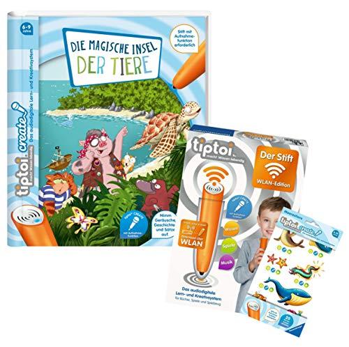 tiptoi Ravensburger Set: libro Create: Die Magic Isla de los Animales + 00036 – Der Stifter – WiFi Edition + 1 x Create Sticker diferentes selección