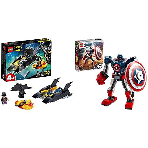 LEGO SuperHeroes DcBatman All'InseguimentoDelPinguinoConLaBat-Barca, Imbarcazione Giocattolo & Super Heroes Marvel Avengers Armatura Mech Di Capitan America, Giocattolo Action Figure