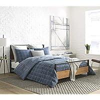 Deals on Kenneth Cole Holden Grid Blue Reversible Twin Comforter Set