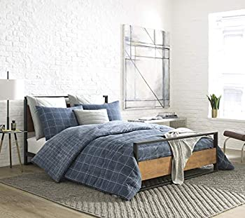 Kenneth Cole New York Holden Grid Blue Twin Twill Comforter-Sham Set
