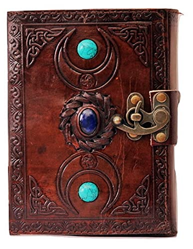 Heritage Leather Journal Handmade Third Eye Stone Celtic Triple Moon With Two Turquise Stone New Embossed Vintage Daily Notepad Unlined Paper 7 x 5 Inches, Sketchbook & Writing Notebook