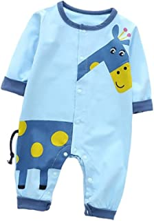Fairy-Baby Baby Kids One-Piece Bodysuit Long Sleeve Cotton Playwear with Cute Catoon Giraffe Printing Pattern Toddler Casual Homewear (Color : Blue, Size : 80cm)